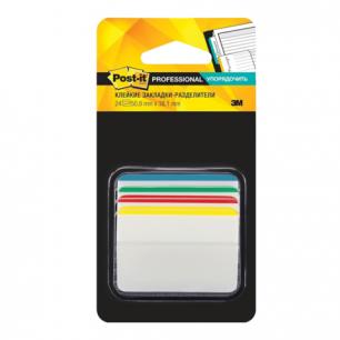 Закладки самоклеящиеся POST-IT Professional, пластик, 50мм, 4цв*6шт., суперклейк, со сгибом, 686-A1-RU