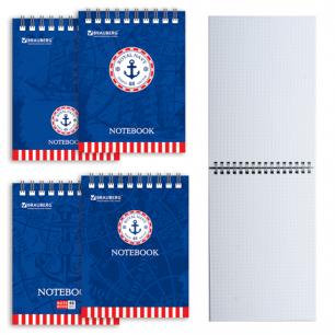 Блокнот BRAUBERG А6 108*145мм, 48л. гребень, обложка мел. картон, клетка, морские (4вида), 125698