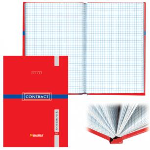 Блокнот BRAUBERG А5 135*206мм, 96л. твердая ламинированная обложка, клетка, контракт красный, 121928