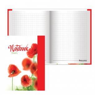 Блокнот BRAUBERG А6 110*147мм, 80л. твердая ламинир. обложка, выб. лак, клетка, красные маки, 123243