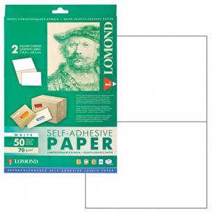 Этикетка самоклеящаяся LOMOND на листе формата А4, 2 этик., размер 210*148,5 мм, белая, 50л. (2100225)