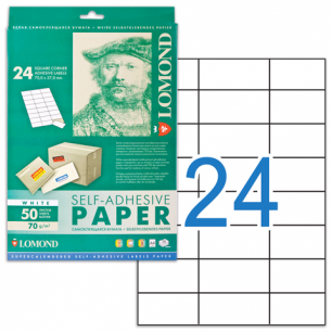 Этикетка самоклеящаяся LOMOND на листе формата А4,24 этик., размер 70х37мм, белая, 50л. (2100165)