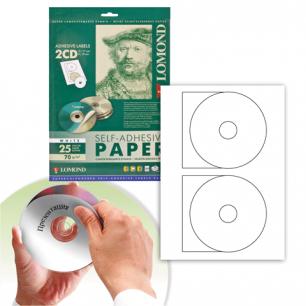 Этикетка самоклеящаяся LOMOND для CD, на листе ф А4, 2 этик., диаметр 117/18мм, белая, 25л. (2101013)