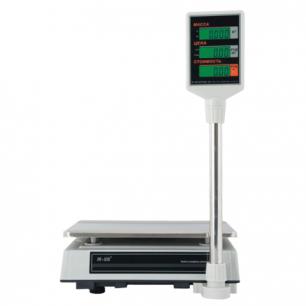 Весы торговые MERCURY M-ER 327P-15.2 LCD (0,05-15кг), дискретность 2г, платформа 325x230мм, со стойкой