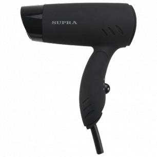 Фен SUPRA PHS-1201, мощность 1200Вт, 2 скоростных режима, складная ручка, 2 насадки, пластик, черный