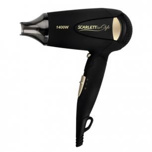 Фен SCARLETT SC-HD70IT10, мощность 1400Вт, 2 скор режима, 2 темп режима, ионизация, пластик, черный