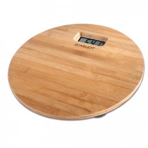 Весы напольные SCARLETT SC-BS33E061, электрон, макс нагрузка 180кг, круг, бамбук