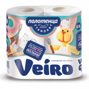 Полотенце бумажное VEIRO (Вейро), 2-х слойное, спайка 2шт.х16,3м, 4п22, ш/к 90148
