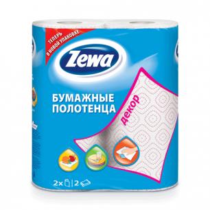 Полотенце бумажное ZEWA Decor, 2-х слойное, спайка 2шт.х15м, белое, 144087, ш/к 64610