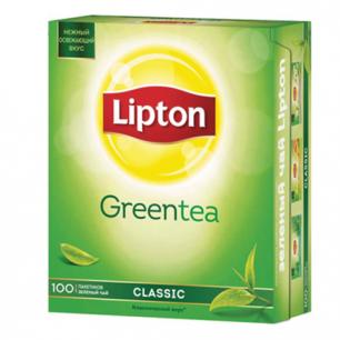 """Чай LIPTON """"Clear Green"""", зеленый, 100 пакетиков с ярлычками по 1,3г, 65415224"""