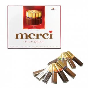 Конфеты шоколадные MERCI, ассорти, 250г, картонная коробка, 015409-35