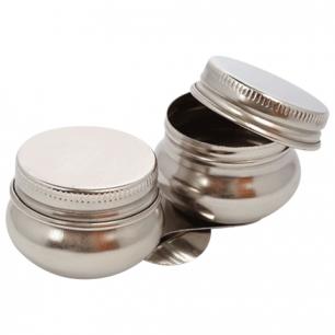 Масленка металлическая двойная с крышкой, диаметр 4,2см., высота 2см., DK11008