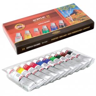 Краски акриловые KOH-I-NOOR 10цв. по 16мл, картонная коробка, 016270300000