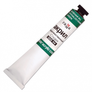 Краска акриловая художественная ГАММА, туба 46мл, зеленая флуоресцентная, 0.40.А046.503