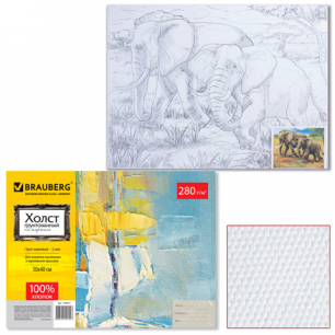 Холст грунтованный на картоне с контуром BRAUBERG 30х40см, 100% хлопок,  мелк зерно, слоны, 190631