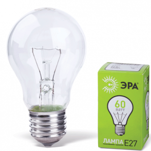 Лампа накаливания ЭРА 60Вт, грушевидная, прозрачная, колба d=60мм, цоколь Е27, А55-60-230-E27-CL
