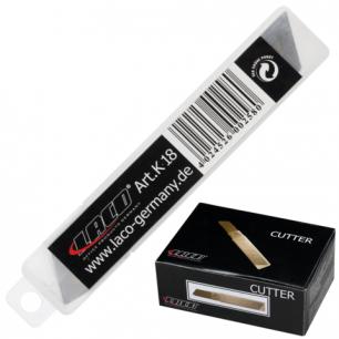 Лезвия для ножей LACO (ЛАКО, Германия), КОМПЛЕКТ 10 шт., 18мм, в пластиковой тубе, K 18