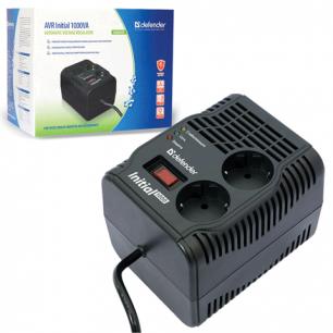 Стабилизатор напряжения DEFENDER AVR Initial 1000, 320Вт, вх.напр.175-275В, 2 розетки, черн., 99018