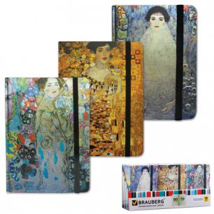 """Блокнот BRAUBERG А7+ 90*140мм, """"Art"""", 80л. с дизайн-обложк, ламин.обл., резин, худ.рис. (3вид), 125745"""