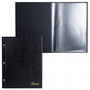 """Папка """"Меню"""" на трех винтах с 10 файлами, 220*320мм, черная, ДПС, 2273.М-107"""