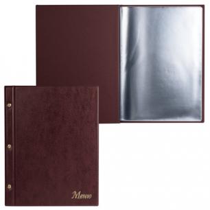 """Папка """"Меню"""" на трех винтах с 10 файлами, 220*320мм, коричневая, ДПС, 2273.М-104"""