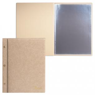 "Папка ""Меню"" на трех винтах с 10 файлами, 220*320мм, бежевая, ДПС, 2273.М-105"