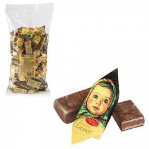 """Конфеты шоколадные КРАСНЫЙ ОКТЯБРЬ """"Аленка"""", вафельные, молочно-ореховые, 1000г, пакет, ш/к 81233"""