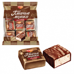 """Конфеты шоколадные РОТ ФРОНТ """"Птичье молоко"""", суфле, сливочно-ванильные, 225г, пакет, ш/к 80335"""