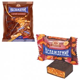 """Конфеты шоколадные БАБАЕВСКИЙ """"Наслаждение"""", мягкая карамель с орехами, 250г, пакет, ш/к 12762"""
