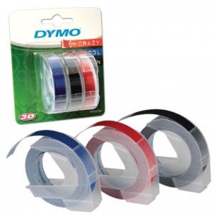 Картридж для принтеров этикеток DYMO Omega 9мм*3м, бел шр-т, черн, син, красн фон, КОМПЛЕКТ 3шт, S0847750