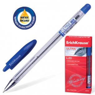 "Ручка шариковая масляная ERICH KRAUSE ""Ultra L-20"", корпус прозрачный, 0,7мм, 13875, синяя"