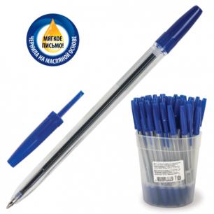"""Ручка шариковая масляная СТАММ """"Optima"""", корпус прозрачный, 0,7 мм, РО20, синяя"""