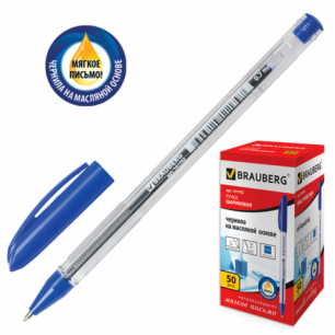 "Ручка шариковая масляная BRAUBERG ""Rite-oil"", корпус прозрачный, толщина письма 0,7 мм, 141702, син"