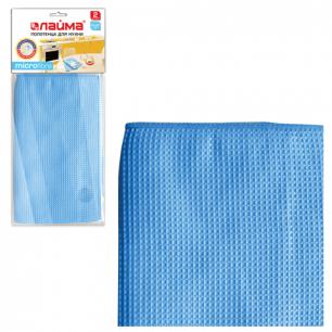 Полотенца для кухни ЛАЙМА, НАБОР 2 шт., вафельные, микрофибра, 40*60см, голубые, 601252