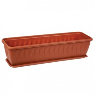 """Кашпо-балконный ящик 10,5л для цветов IDEA, """"Алиция"""", (в16*ш60*г*19см), цвет коричневый, М 3215"""
