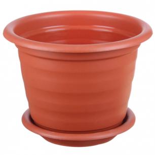 """Кашпо 2л для цветов IDEA """"Ламела"""", с поддоном, (в15*диаметр 17см), цвет коричневый, М 8201"""