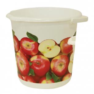 """Ведро 10л IDEA, """"Яблоки"""", без крышки, пластиковое, пищевое, цвет белый с рисунком, М 2426"""