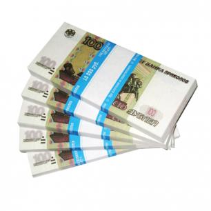 """Деньги шуточные """"100 рублей"""", упаковка с ероподвесом, ш/к 72472"""