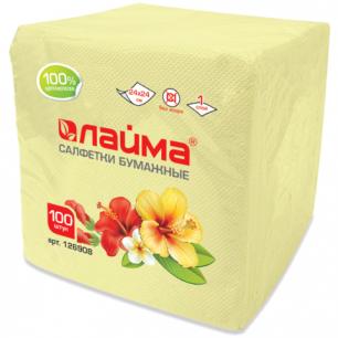Салфетки ЛАЙМА, 24*24см, 100шт, жёлтые (пастель), 100% целлюлоза, 126908