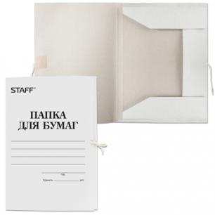 Папка д/бумаг с завязками картонная STAFF, гарант. пл. 310 г/м2, до 200л.