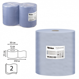 Бумага протирочная VEIRO (P1/P2), КОМ. 2шт, Comfort, 1000л/рулон, 33х35, 2-сл (дисп.601741,-678)  W202