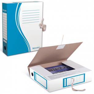Накопитель документов, Папка с завязками BRAUBERG,  75 мм, 2 х/б завязки, синий, до 700л., 124853
