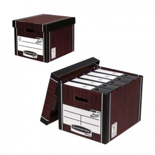 "Короб архивный FELLOWES Bankers Box ""Woodgrain""32,5x28,5x38,5см, с крышкой, гофрокартон, корич, FS-00610"