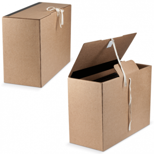 Короб архивный (в38*ш18*г28,см), вертикальный, на завязках, гофрокартон, бурый, до 1600л., ш/к 70554
