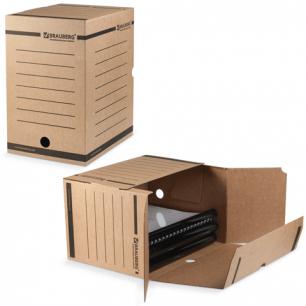 Накопитель документов, Лоток-коробка BRAUBERG, 200 мм, бурый, до 1800л., 126510