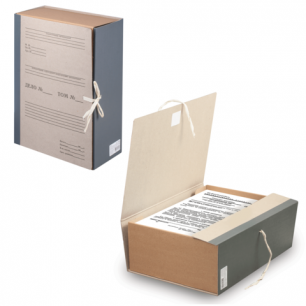 Короб архивный STAFF, 12 см, переплетный картон, корешок - бумвинил, 2 х/б завязки, до 1000л, 126903