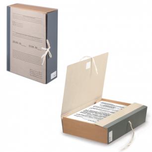 Короб архивный STAFF,  8 см, переплетный картон, корешок - бумвинил, 2 х/б завязки, до 700л, 126902