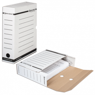 Накопитель документов, Лоток-коробка BRAUBERG,  75 мм, белый, до 700л., 121485
