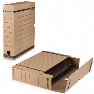 Накопитель документов, Лоток-коробка BRAUBERG,  75 мм, бурый, до 700л., 126509