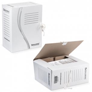 Накопитель документов, Папка с завязками BRAUBERG, 150 мм, 2 х/б завязки, белый, до 1400л., 126513